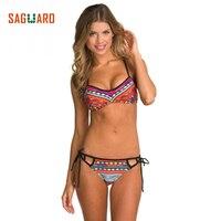 2017 Hot Design National Style Simple Model Brazilian Sexy Printing Swimsuit Bikinis Push Up Padded Biquinis