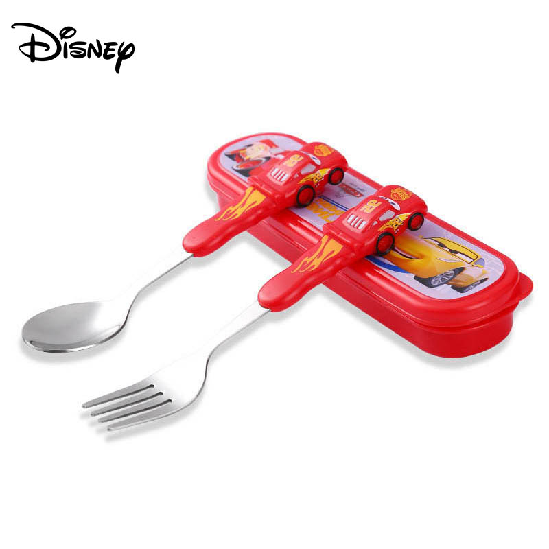 Disney Children's Tableware Stainless Steel Baby Spoon Portable Learning To Eat Spoon Baby Training Spoon Fork Set