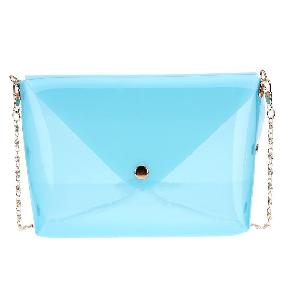 Women Jelly Chain Shoulder Bag Soft Plastic Transparent Mini Bag Female Candy Colors Crossbody Bag Simple Shopping Bag