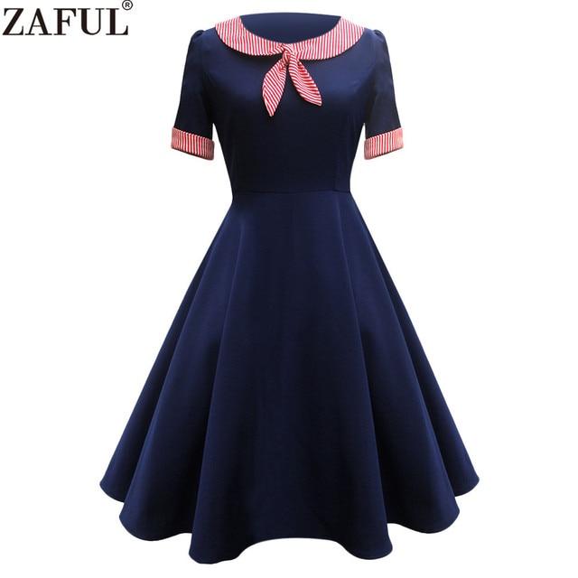 save off ddb09 d59fd Vintage-Bande-Ins-rer-Cravate-Taille-Haute-Robe-l-gante-Femmes-Marine-Bleu- Couleur-Col-Marin.jpg 640x640.jpg