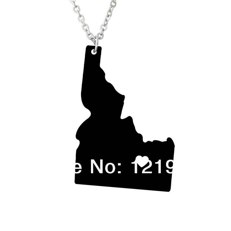 I heart Idaho Necklace State Necklace Map Pendant - State Charm - ID Map Custom map jewelry