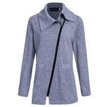 Winter Jacket Coat Women Inclined Zipper Long Jacket  Ladies Lapels Solid Color Long Sleeve Slim Fit Outerwear Parkas