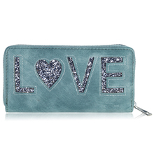 2016 New European Style Wallet Simple Love Letter Sequins Wallets Ladies Leather Women Wallet Phone Pocket Purse Wallet 500636