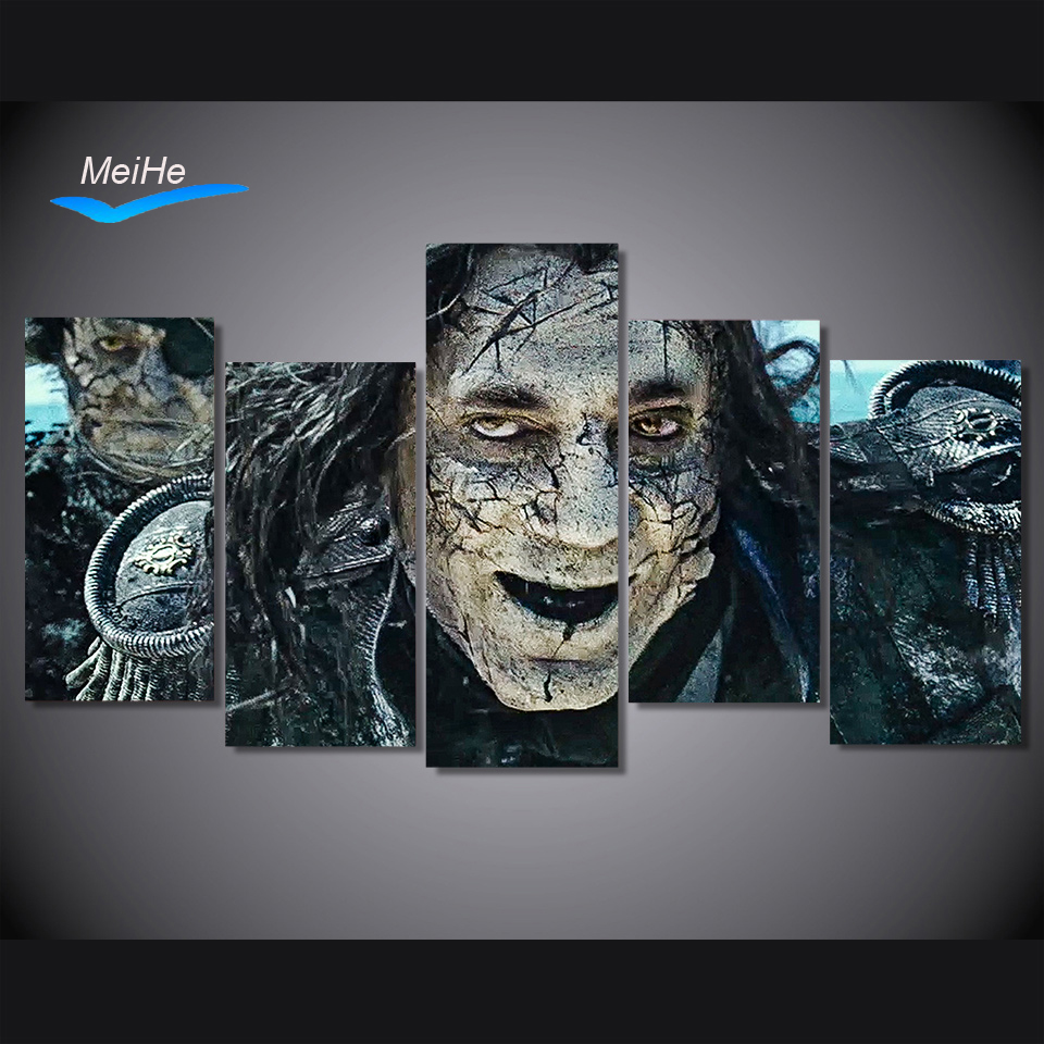 5 Pieces Canvas Paintings HD Printed Pirates of the Caribbean horror wall art pictures home decor posters and prints MH1304B