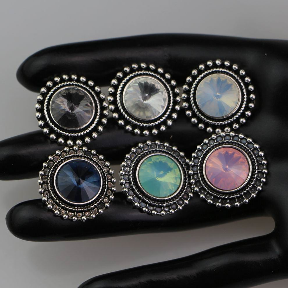 6Colors Vintage Round Crystal <font><b>Snap</b></font> <font><b>Buttons</b></font> Metal <font><b>Snap</b></font> diy <font><b>Button</b></font> Charms Beads Fit <font><b>18</b></font> <font><b>mm</b></font> <font><b>Snap</b></font> <font><b>Button</b></font> Jewelry BT118 image