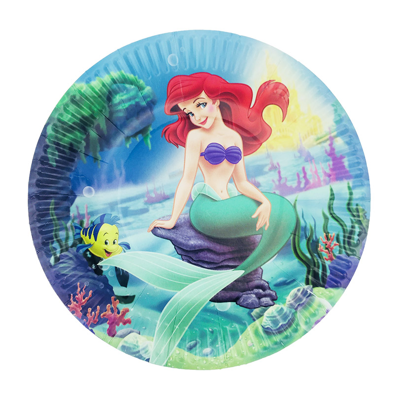 10pcs/lot Cartoon Mermaid Paper Plates Birthday Party Dishes Kids Favors Decoration Tableware Baby Shower Supplies