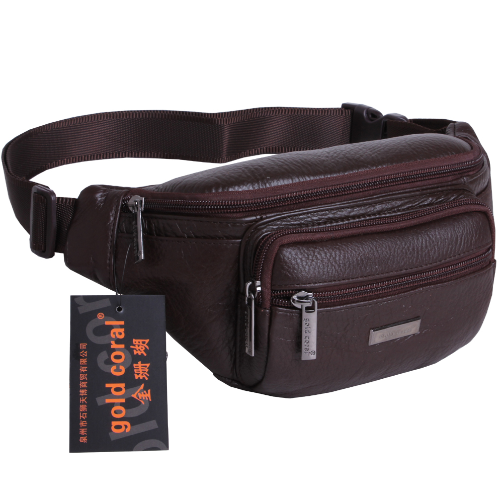 free shipping genuine leather waist pack male cowhide internality cross body men s classic phone bag