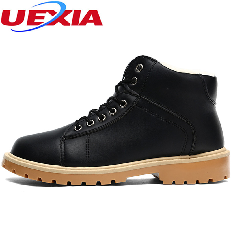 UEXIA Fashion Casual Men Shoes Slip on Flats For Man Lace-Up Male Oxfords Leather Classic Warm Winter  Anti-Odor Hard-Wearing chilenxas autumn warm winter leather footwear shoes men casual new fashion ankle boots breathable light hard wearing anti odor