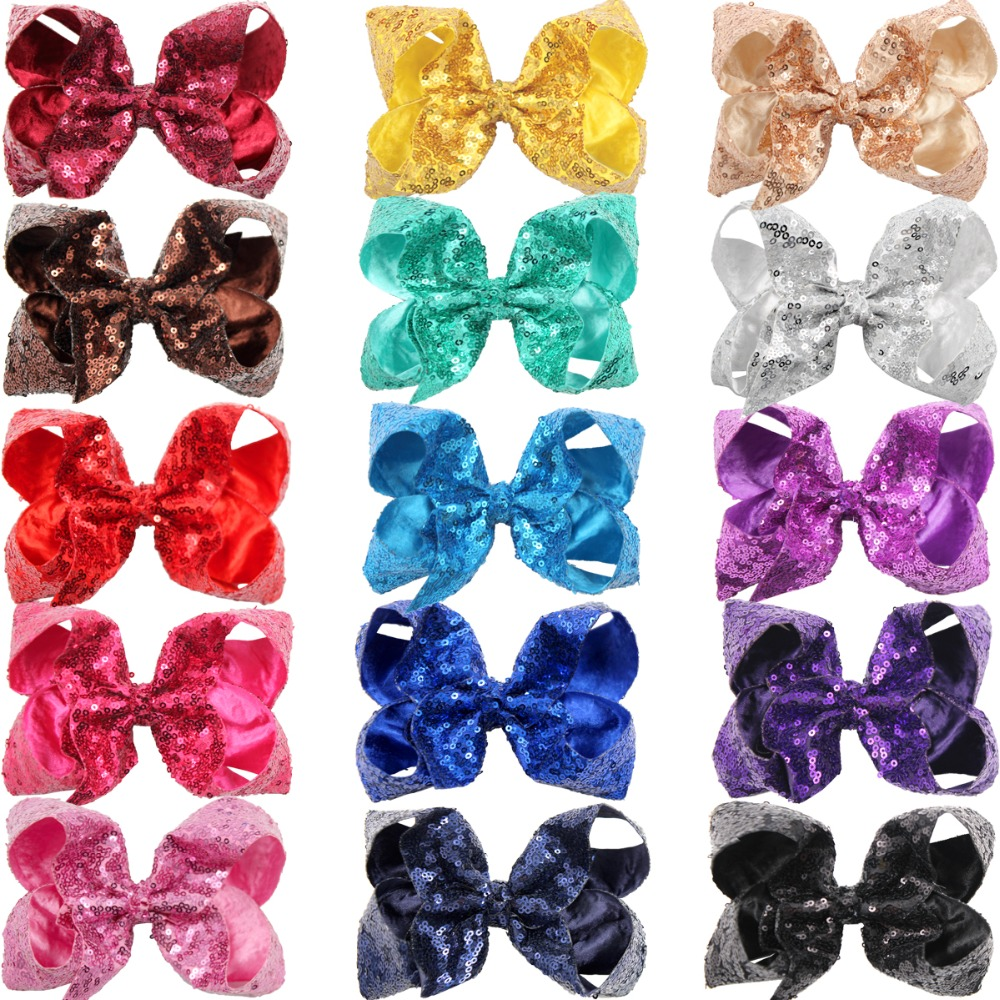 Image 2 - 15Pcs 6 Inches Big Bows for Baby Girls Bling Sparkly Sequins Bow Clip Boutique Hair Bows For Girls Kids Children Women-in Hair Accessories from Mother & Kids