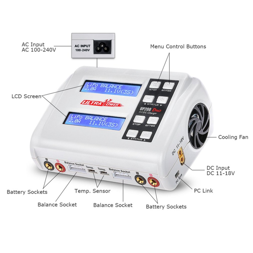 Ultra Power UP200 DUO 200W 10A AC / DC Battery Balance Charger / Downloader for LiPo LiFe Lilon LiHV NiCd NiMh Pb RC Battery skyrc rc car drone b6 nano smart balance charger discharger app control for lipo lihv life lilon nicd nimh pb rc boat battery