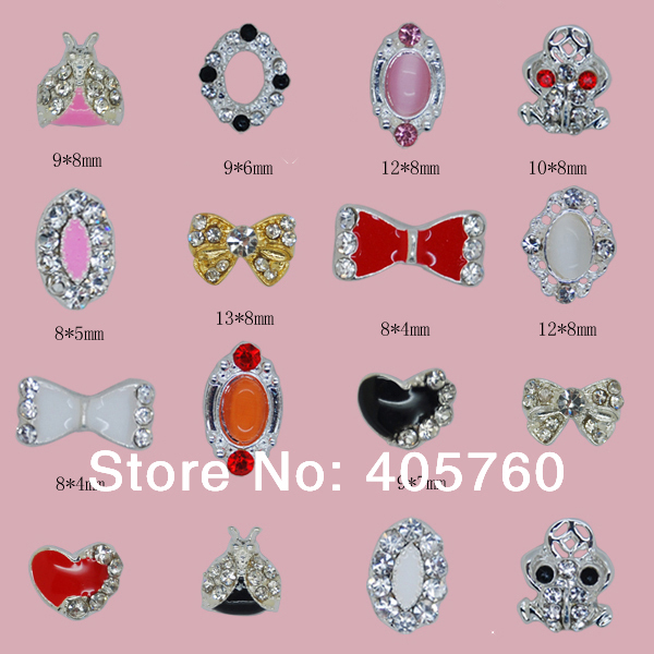 wholesale nails tips  B501 -B545  3D  Rhinestone metal  Nail art decoration bow  for make up your nails, cellphone, home ect.