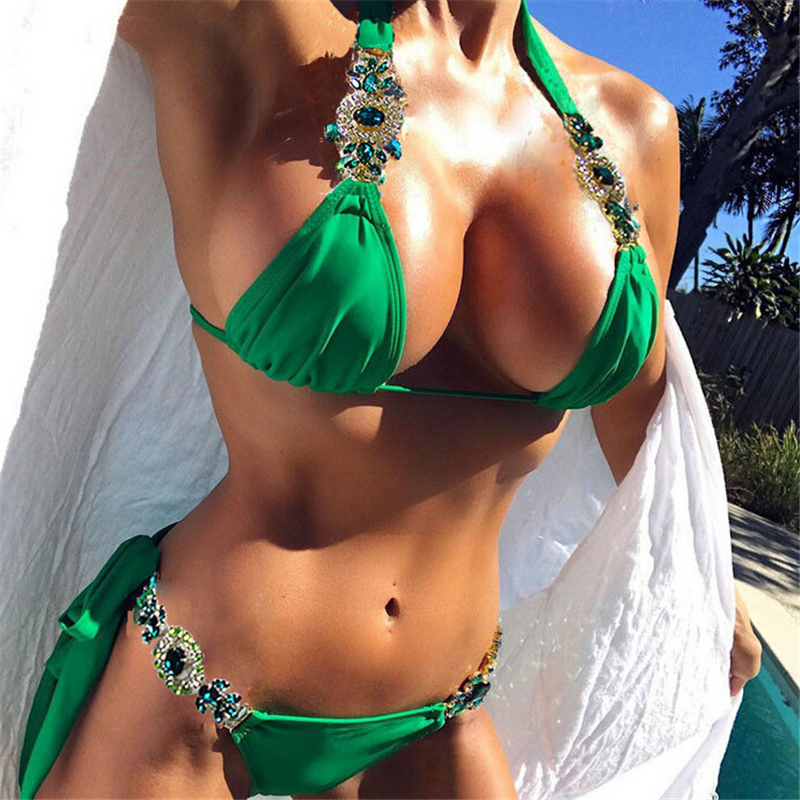 Diamond <font><b>Swimsuit</b></font> Crystal Lace <font><b>Bikini</b></font> Set <font><b>Brazilian</b></font> <font><b>Swimsuits</b></font> Push Up Swimwear <font><b>Sexy</b></font> <font><b>Women</b></font> Biquini <font><b>2018</b></font> Bathing Suit image