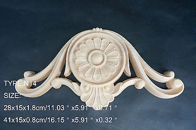 N14 -28x15x1.8cm Wood Carved Long Onlay Applique Unpainted Frame Door Decal Working Carpenter Flower