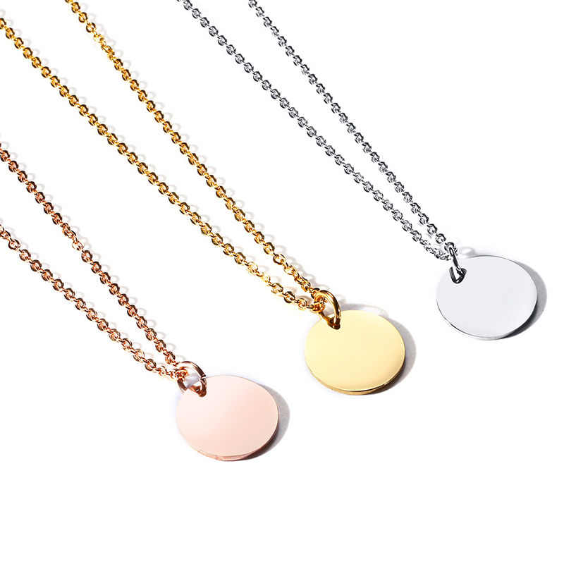 Hand Coin Pendant Women Necklace Smalll Round Circle Chocker Clavicle Stainless Steel Gold Silver Rose Gold Color Female Collier