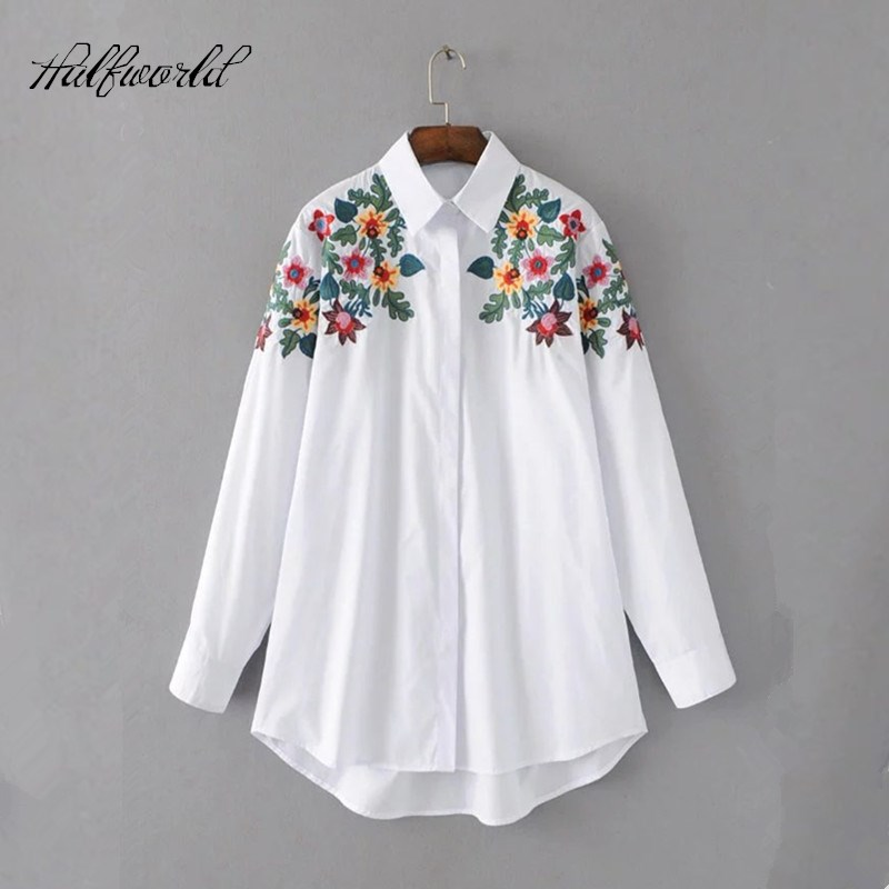 2017 Women S Flower Embroidery Cardigan Shirt Female Blouse Casual Long Sleeve Blouses Women Tops Blusas