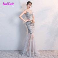 Fashion Silver Mermaid Long Prom Dresses 2018 Sexy Black Prom Dress Scoop Sequin Floor Length Women