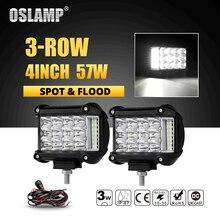 Oslamp 3 ряда 4 дюйма 57 W светодиодный Подсветка светодиодная балка для внедорожников свет грузовики, лодки ATV 4×4 4WD 12 v 24 v пятна прожекторный дальний лампы фар