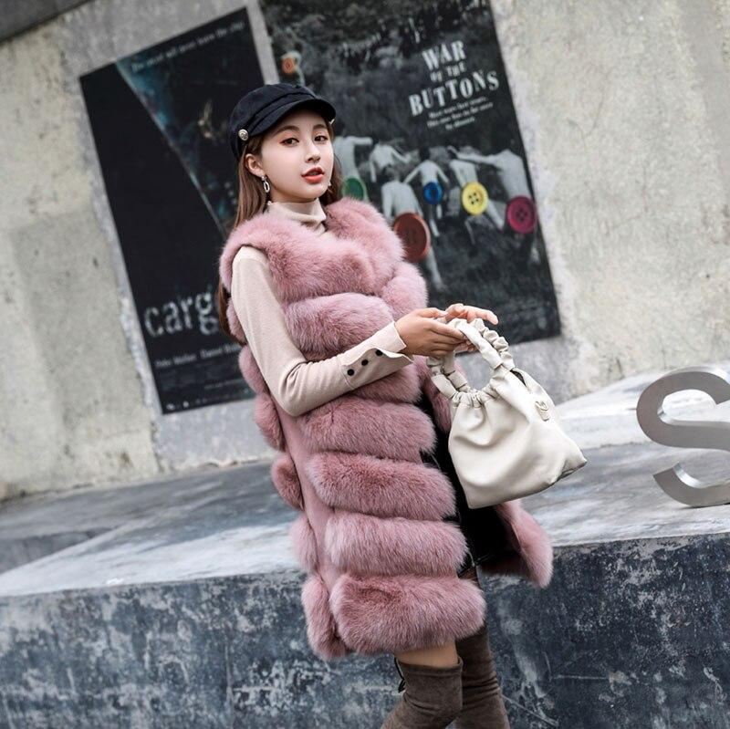 Longue Gray Sha Dark Pink Mode Outwear De Femme Hiver Manteau Pelt Femmes dou Zl637 dark Veste 2018 camel black Gilet Fourrure D'hiver Réel Complet Renard Manches Sans Manteaux qAxw17ff