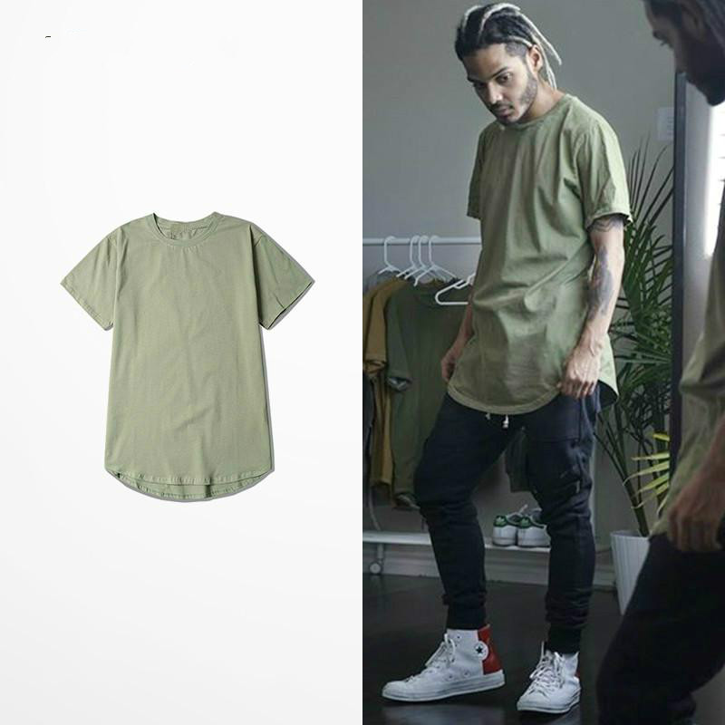 201 S/S Men Extended Kanye West T-shirt Cotton Swag Mens T Shirts Skateboard Tshirt Solid Hip Hop T Shirt Men's Tees Tops Kpop
