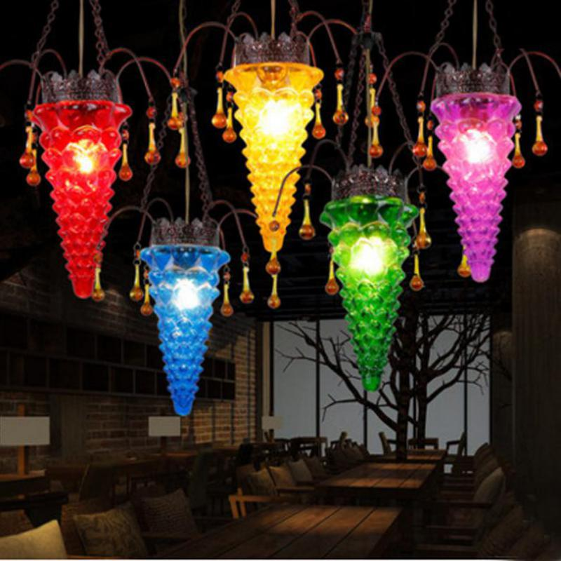 Tiffany 1 pcs Hot pepper Bar light Mexico traditional Colored Glass Pendant Light Cafe Restaurant Lamp Rural country lantern vintage 10 tiffany frosted colored glass
