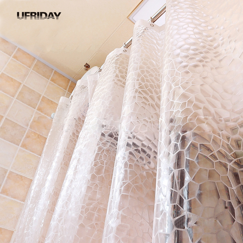 UFRIDAY EVA 3D Translucence Waterproof Shower Curtain Clear Thicker Water Effect Cube Bath For Bathroom Multiple Sizes