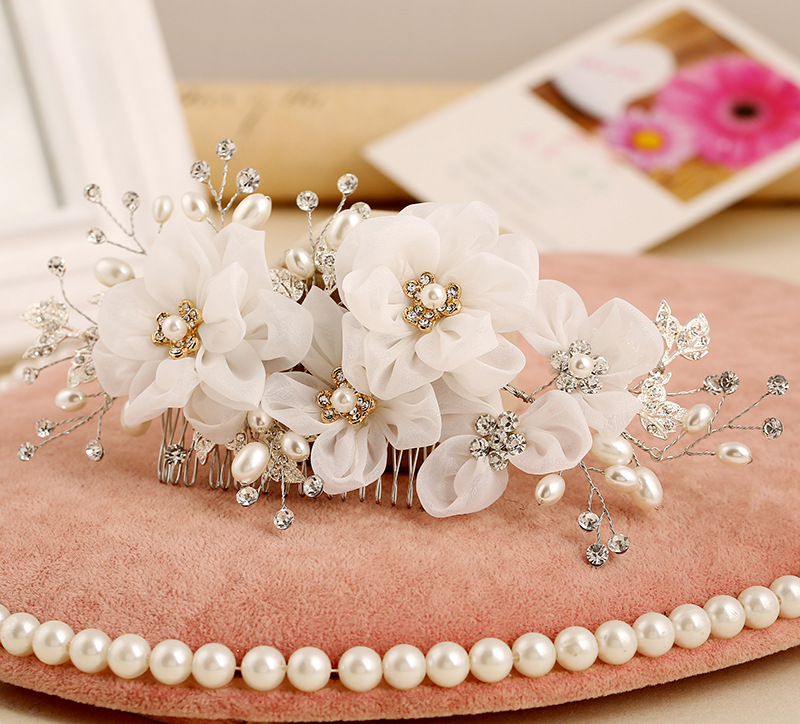 Bridal hair comb pearl jewelry hair accessories handmade flower wedding hair combs white flowers party headdress on aliexpress alibaba group bridal hair comb pearl jewelry hair accessories handmade flower wedding hair combs white flowers party headdress o