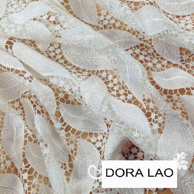 Acheter 120 cm blanc broderie laisse découpe soluble dans l'eau dentelle tissu pour robe chemise vêtements de fabric for dress fiable fournisseurs