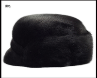 Men mink fur hat Men's Genuine Mink Fur Cap Winter Warm Top Hat Headgear Beanie Beret Newsboy Cap