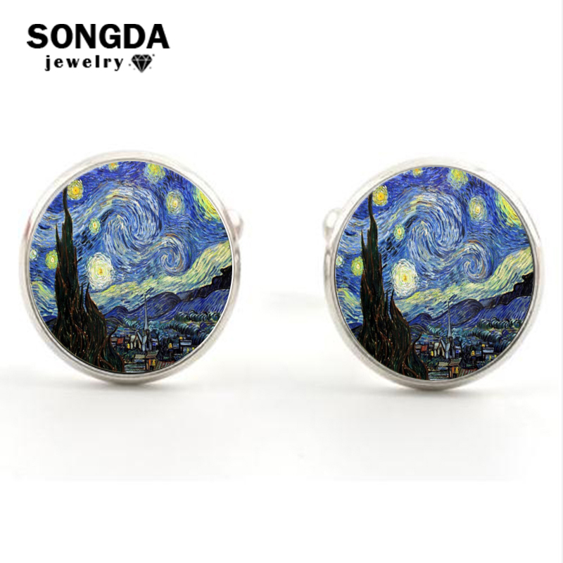 SONGDA Fashion Van Gogh Art Painting Series Cufflinks Van Gogh Starry Night Crystal Glass Cabochon Cufflinks For Mens Wearable