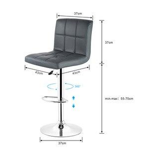 Image 4 - JEOBEST 2 יחידות אפור עור מפוצל מסתובב בר צואה כיסאות גובה מתכוונן דלפק פאב כיסא כיסאות הבר הגבוהים מודרני סגנון HWC