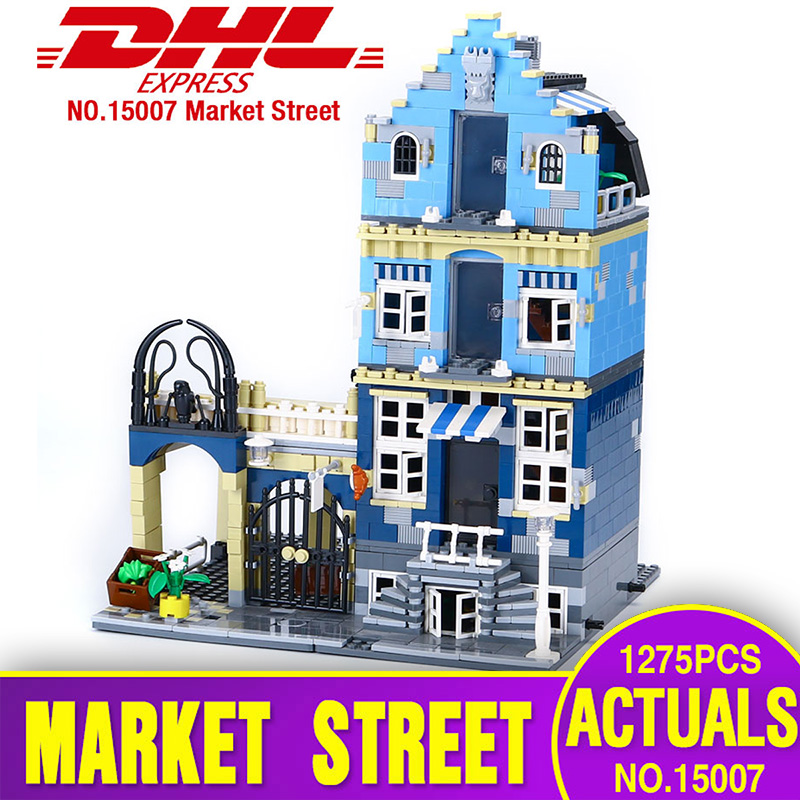 Lepin 15007 Genuine Factory City Street European Market Model Educational Building Blocks Compatible With toys Legoing 10190 цена