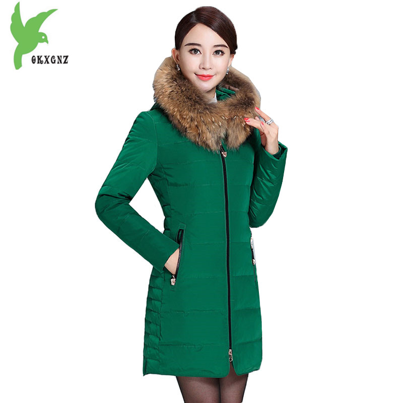 High Quality Women Jackets Winter Down cotton Coats Hooded Real fur collar Parkas Plus size Thick Warm Cotton Jackets OKXGNZ1131 winter jacket women 2017 big fur collar hooded cotton coats long thick parkas womens winter warm jackets plus size coats qh0578