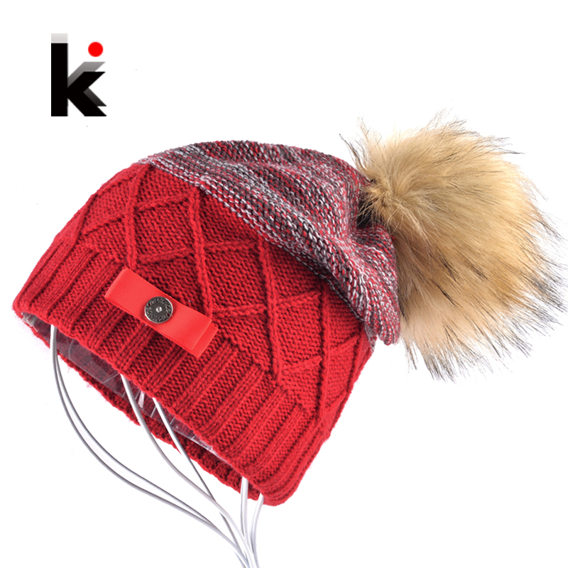 Imitation Fur Ball   Beanie   Hat Women Winter Double Layer Knitted   Skullies     Beanies   Female Metal Button Bow PomPom Caps Lady Touca