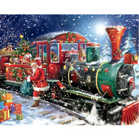 5D Diy Diamond Painting Christmas Santa Claus Train Full Square Rhinestone Needlework Cross Stitch Diamond Embroidery