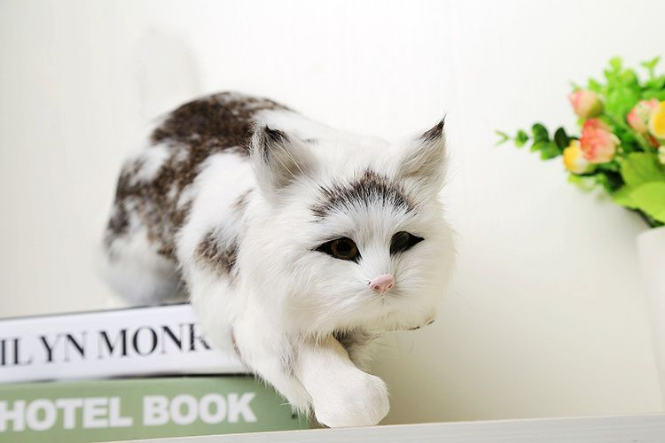 big new simulation white cat lifelike handicraft catching mouse cat doll gift about 42x14x13cm