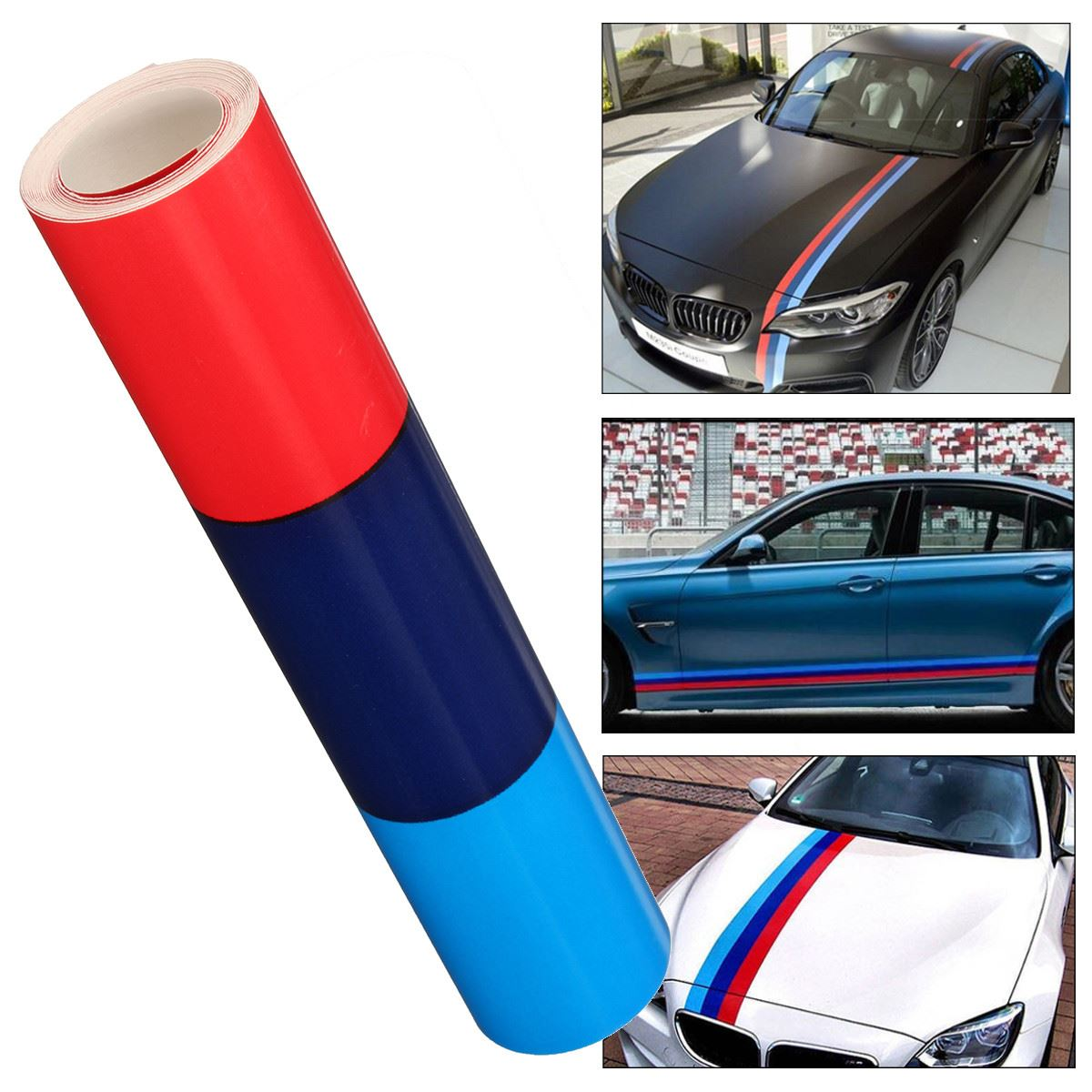 1.5m M Color Stripes Rally Side Hood Racing Motorsport Vinyl Decal Sticker Strip Bumper Engine Cover For BMW(China)