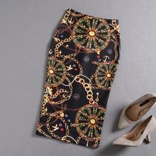 PHOEBE HZ 2018 Autumn Womens Retro elegant print pack hip skirt one-step split