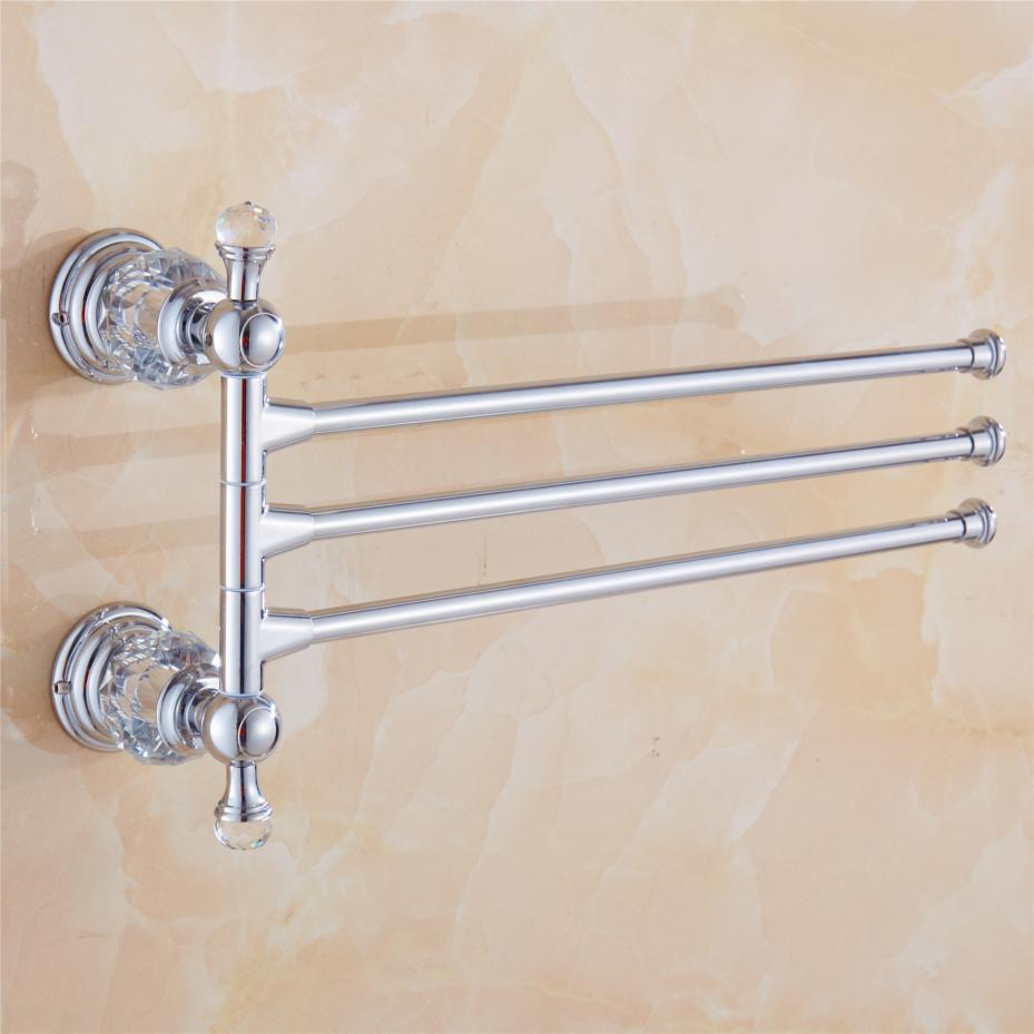 Silver 3 Arms 30cm Length Wall Mounted Brass Chrome Polished Towel Racks Luxury Crystal  ...