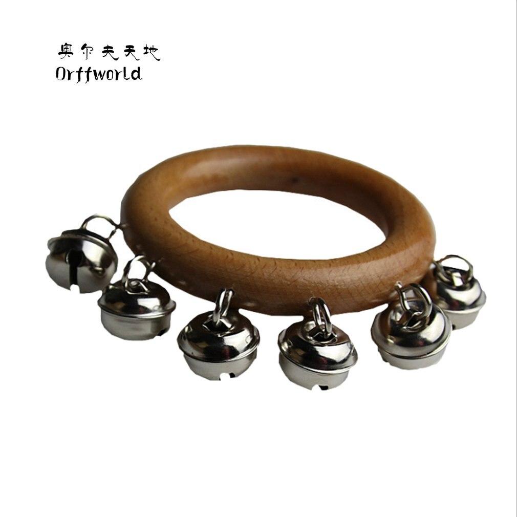 Orff World Safe 6 cloches en bois bébé garçons filles cloche hochet jouets éducation musicale Percussion Handbell Instrument meilleur cadeau