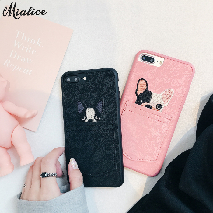 Korean Cute Dog in the pocket lace phone cases For Apple iPhone X 7 7plus 8 8plus 6 6plus 6S 6SPlus Cover couple Case