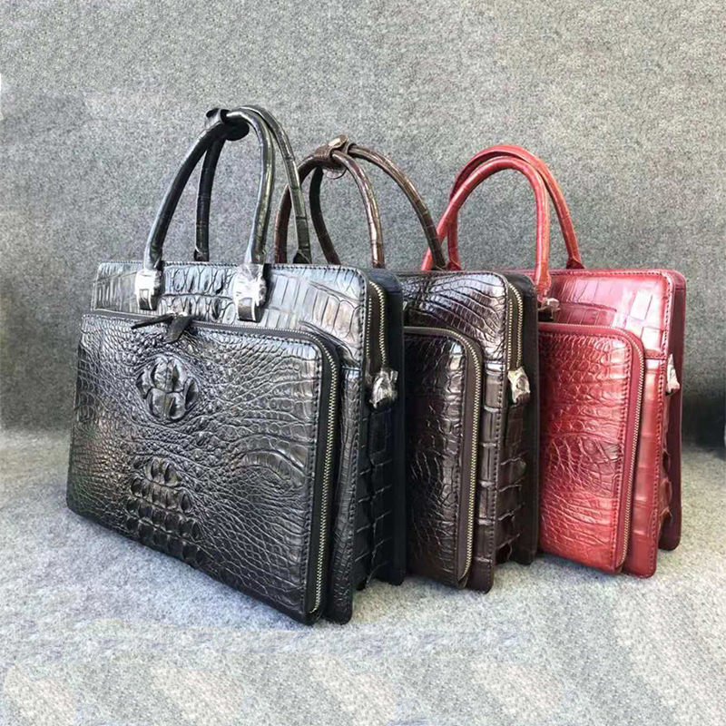 100% Genuine Alliagtor Leather Front Pocket Briefcase Bag Men Luxury Genuine Crocodile Leather Business Bags For Men UBEJ0009
