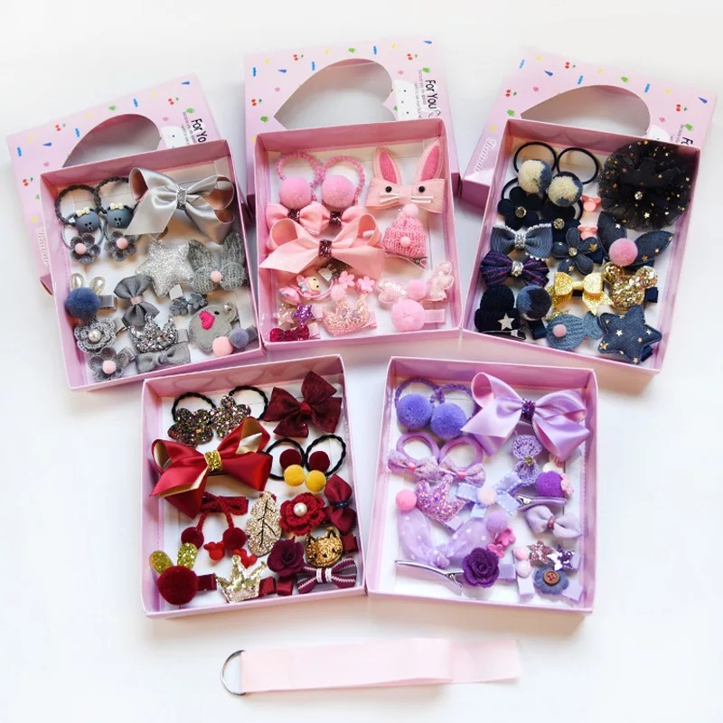 New 18Pcs Fashion Hair Clip Set Flower Bow Hairpin Hair Band Animal Hair Accessoires Children Ribbon Headband Girls Box Gift 5 6pcs lot headwear set children accessories ribbon bow hair clip hairpin rabbit ears for girls princess star headdress t2
