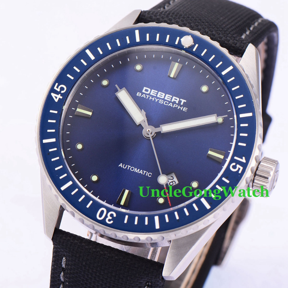 Debert 43mm Blue Dial Rotatable Ceramic Bezel Sapphire Glass Miyota 821A Mens Automatic Watch 43mm debert blue dial ceramic bezel sapphire glass miyota automatic mens watch 32