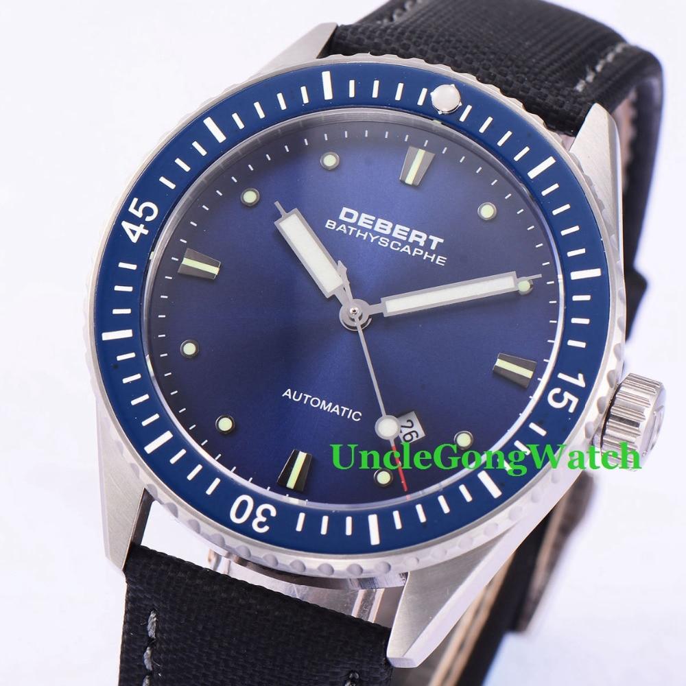 купить Debert 43mm Blue Dial Rotatable Ceramic Bezel Watches Sapphire Glass Orologio Miyota Movement Mens Automatic Relojes DT7032SBK по цене 9620.73 рублей