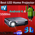 1280x800pixels 1080P Full HD 3D LED Android 4.4 WiFi Projector 6000:1  With 2*HDMI 2*USB VGA AV TV Free shipping !!