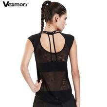 VEAMORS, сексуальная открытая женская рубашка для йоги, быстросохнущая, без рукавов, Спортивная, для йоги, топы, черная, тонкая, сетчатая, для спортзала, фитнеса, бега, жилет, тройники