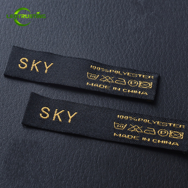 1000pcs Custom Logo Brand Woven Clothing Labels Customized Garment Shirt Jacket Baby Clothes Embroidered Labels with