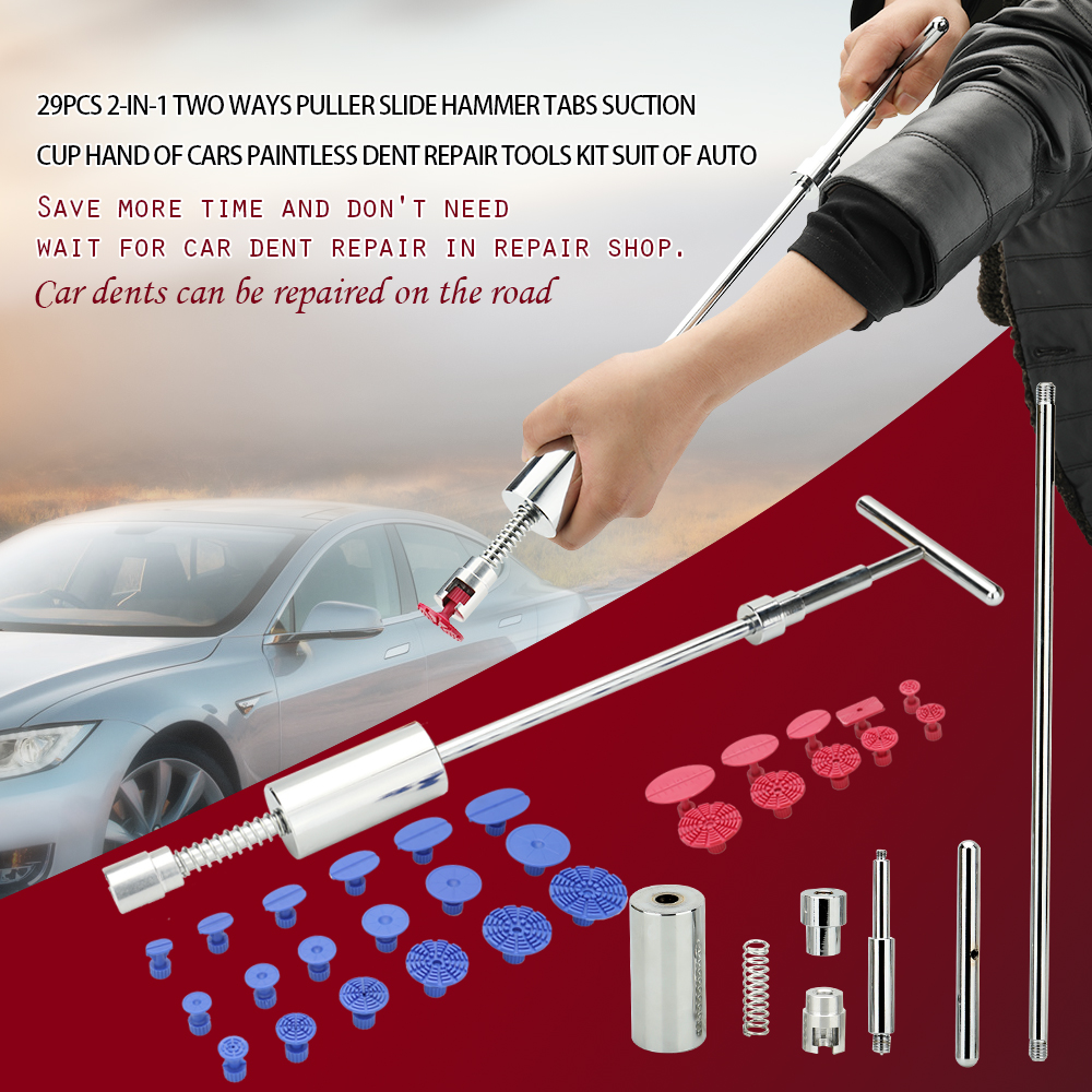 29pcs 2-in-1 Two Ways Puller Slide Hammer Tabs Suction Cup Hand of Cars Paintless Dent Repair Tools Kit Suit of Auto