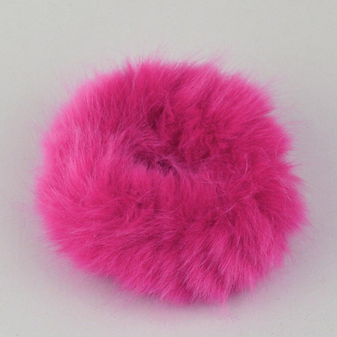 Новинка, настоящая меховая кроличья шерсть, мягкие эластичные резинки для волос для женщин и девочек, милые резинки для волос, резинка для хвоста, модные аксессуары для волос - Цвет: rose red