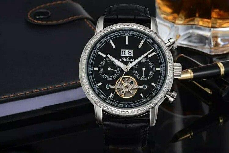 Classique d'affaires Designer hommes Tourbillon montres mécaniques MELISSA cristaux homme montre automatique en cuir calendrier Relogio MP520